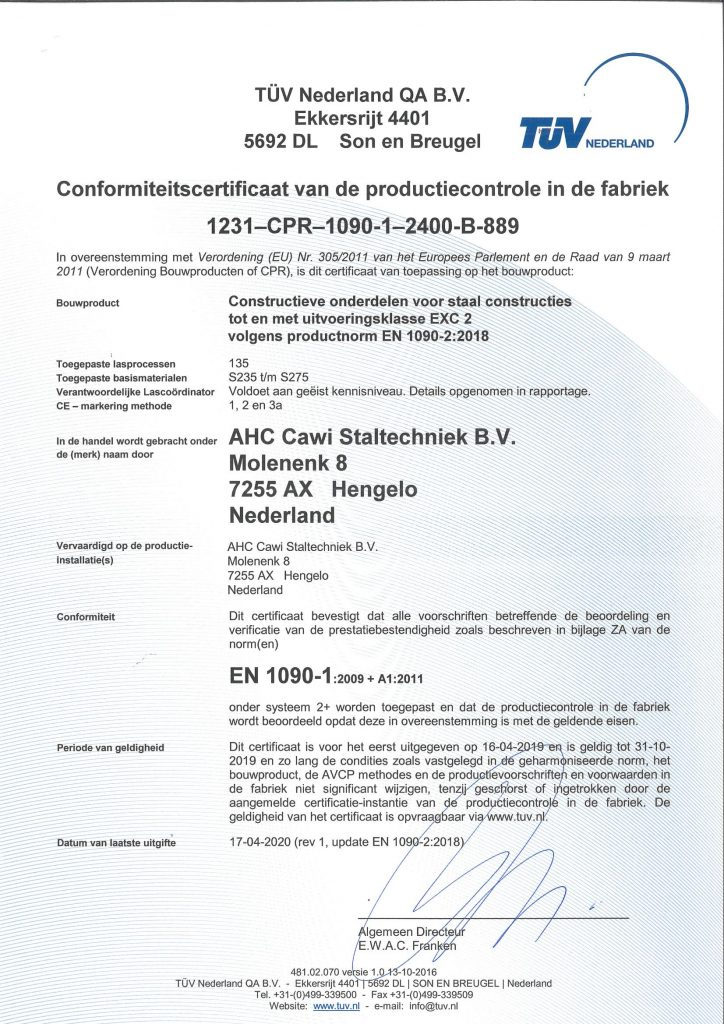EN1090-1 Certificaat AHC Cawi Staltechniek Stalinrichting Varkens